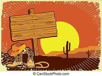 .grunge, ondergaande zon , westelijk, achtergrond, cowboy's...