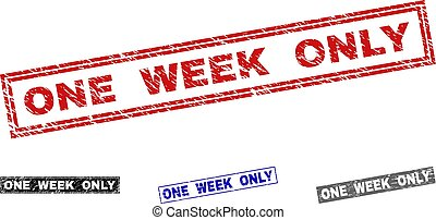 Grunge ONE WEEK ONLY Textured Rectangle Stamp Seals