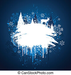 grunge, ontwerp, winter