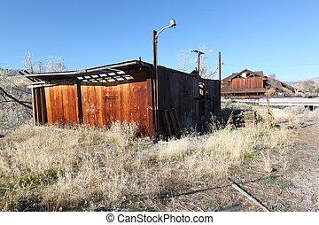 grunge, opuszczony, zwietrzały, dom, chałupa, drewno, kabina, dom, budowa