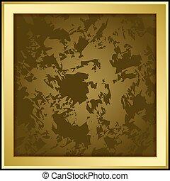 grunge, or, cadre, -, illustration, sombre, vecteur, fond