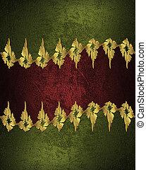grunge, or, plaque, site, flowers., arrière-plan vert, conception, template., rouges