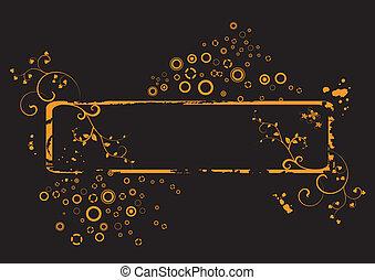 Grunge orange floral frame ,vector
