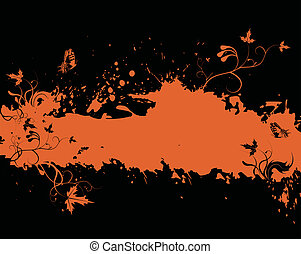 Grunge orange frame with floral elements