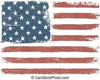 grunge, orientation., amerykanka, tło., bandera, wektor, poziomy, template.
