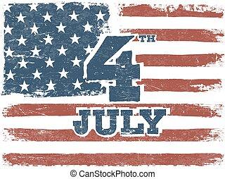 grunge, orientation., norteamericano, fondo., bandera, vector, horizontal, template.