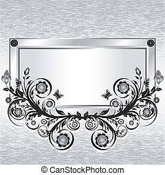 grunge, ornament., metall, bakgrund, illustration, vektor, blomma, ram
