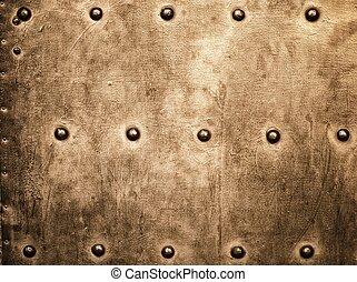 grunge, oro, marrón, plato metal, remaches, tornillos, plano de fondo, textura