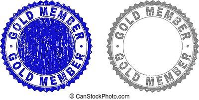grunge, oro, miembro, textured, sellos