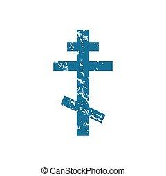 Grunge orthodox cross icon