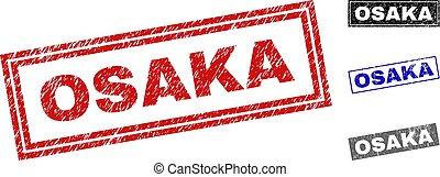 Grunge OSAKA Scratched Rectangle Stamp Seals