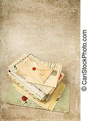 grunge, oud, achtergrond, brieven