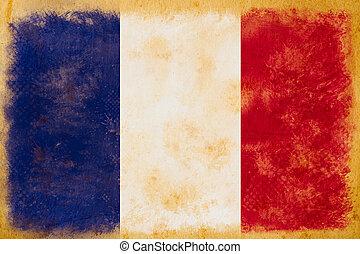 grunge, ouderwetse , frankrijk vlag, papier, oud