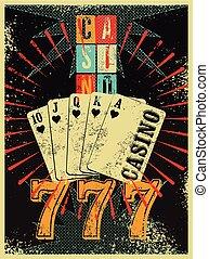 grunge, ouderwetse , stijl, casino, poster.