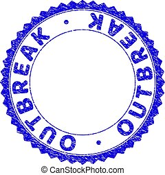 Grunge OUTBREAK Scratched Round Rosette Stamp Seal