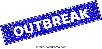Grunge OUTBREAK Textured Rectangle Stamp