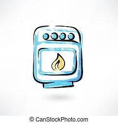 grunge, oven, pictogram
