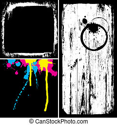 Grunge overlays collection. All vector elements separately ...