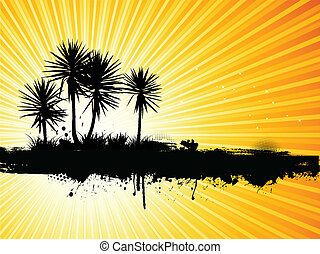 grunge, pálma fa, háttér