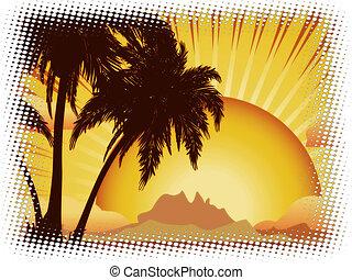 grunge, pôr do sol, ilha tropical