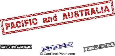 Grunge PACIFIC AND AUSTRALIA Textured Rectangle Stamp Seals