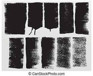 Grunge paint roller strokes - Vector grunge paint roller...