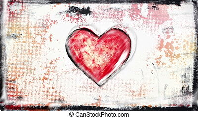 grunge painted heart shape glitch loop - grunge painted...