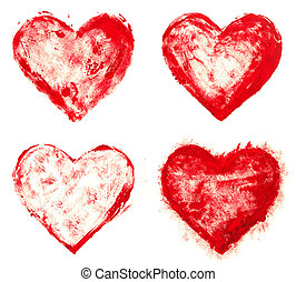 grunge painted red heart shapes set