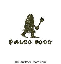 grunge, paleo, alimento, cavernícola, vector, diseño, plantilla