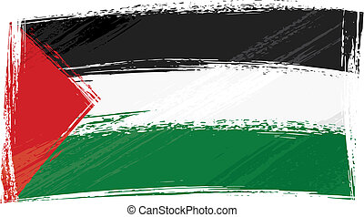 Palestine national flag created in grunge style
