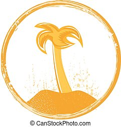 grunge palm emblem or stamp vector design
