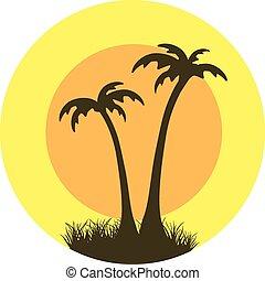 grunge palm emblem or stamp vector design