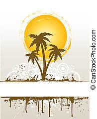 grunge, palm trä