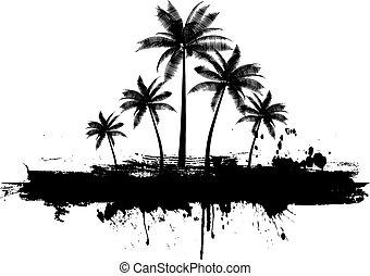 Grunge palm trees background