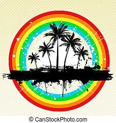grunge palm trees  - Palm trees on grunge rainbow background