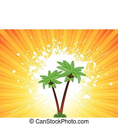 grunge, palmbomen, achtergrond