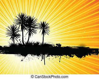 grunge, palmen, hintergrund