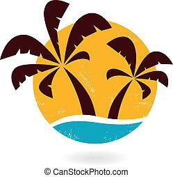 grunge, palmen, vrijstaand, retro, witte , pictogram