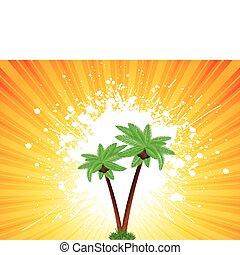 grunge, palmiers, fond