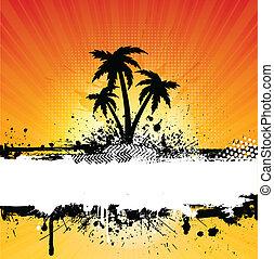 grunge, palmträdar, bakgrund