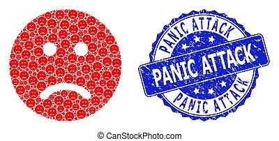 Grunge Panic Attack Round Seal Stamp and Fractal Sad Smiley Icon Mosaic