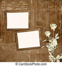 grunge, papel, diseño, en, scrapbooking, estilo, en, el, resumen, plano de fondo, con, rosas