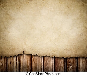 grunge, papel, en, pared de madera, plano de fondo
