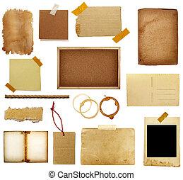 grunge, papel, pedazo, nota