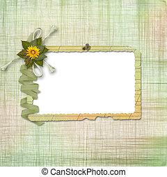 grunge, papeles, diseño, en, scrapbooking, estilo, con, marco, y, ramo de flores
