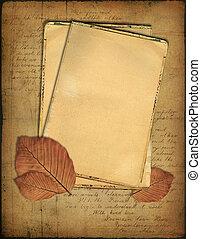 grunge, papeles, y, otoño sale