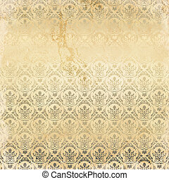 Grunge paper background with floral ornament.