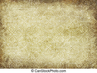Grunge paper background with vintage patterns.