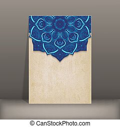 grunge paper card with blue floral circular pattern
