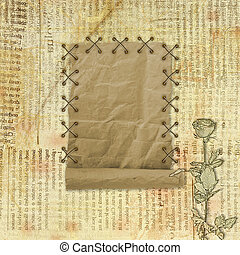Grunge paper design in scrapbooking style on the abstract background with roses